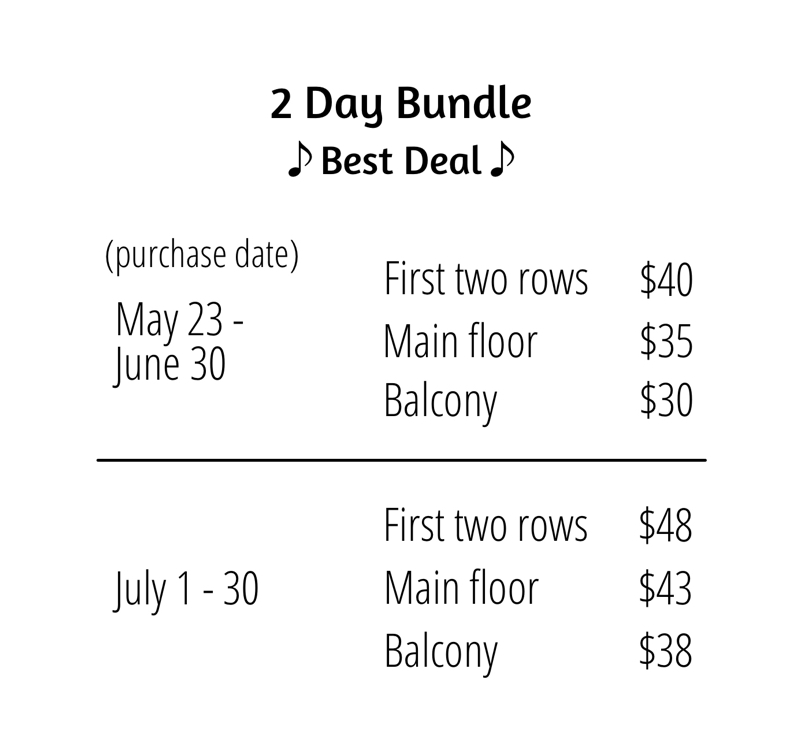 2 Day Bundle Ticket Prices