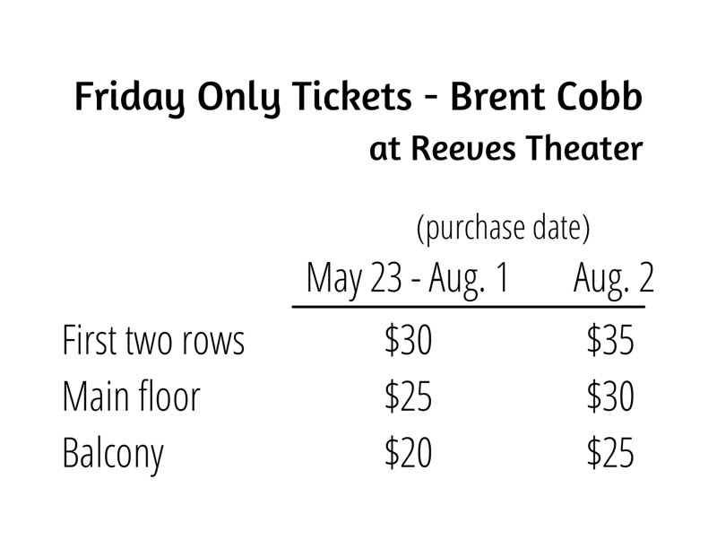 Friday Only Ticket Prices